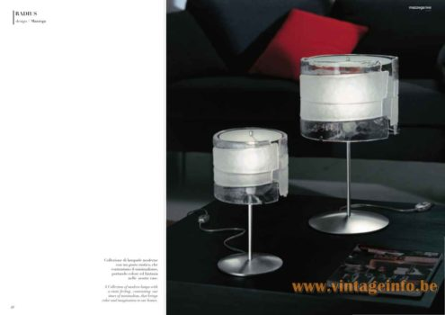 Riflessi Murano Table Lamp - Mazzega 1946 Radius Table Lamp - Catalogue Picture