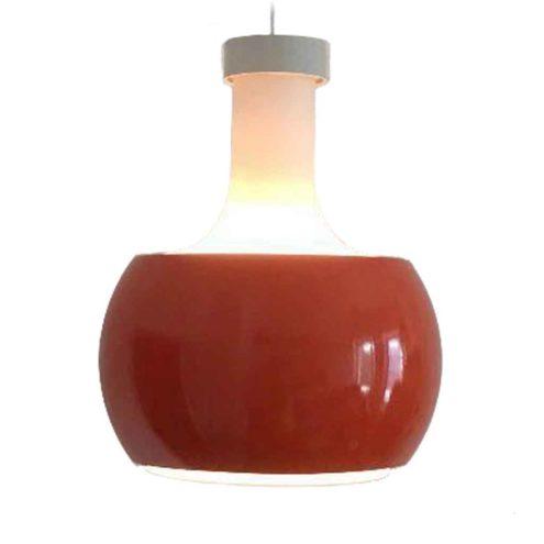 Staff P118 pendant lamp frosted opal glass lampshade orange aluminium ring 1960s 1970s Germany E27 socket