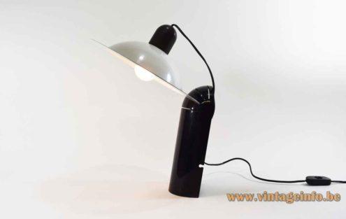 Stilnovo Lampiatta table lamp curved black plastic base white round aluminium lampshade 1970s Italy
