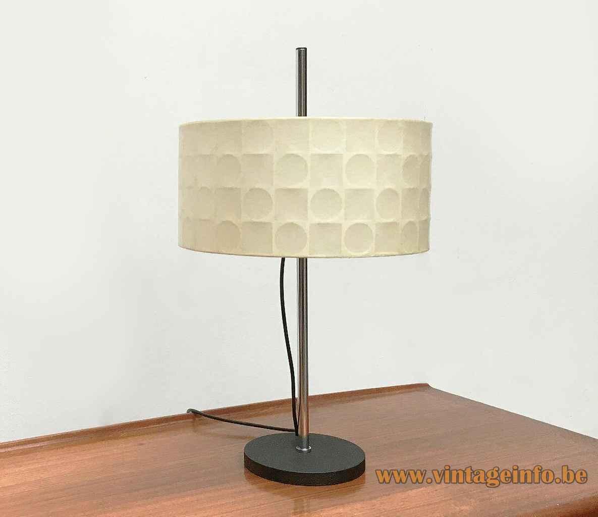 1960s Goldkant Leuchten table lamp round black metal base chrome rod geometric fabric lampshade Germany