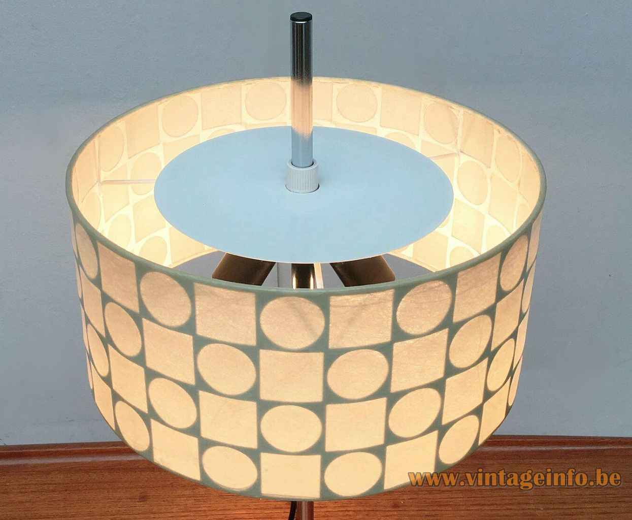 1960s Goldkant Leuchten table lamp geometric fabric lampshade top view chrome rod Germany