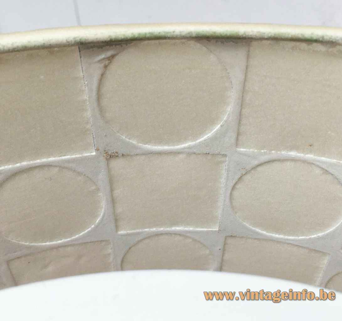 1960s Goldkant Leuchten table lamp geometric fabric lampshade inside view Germany