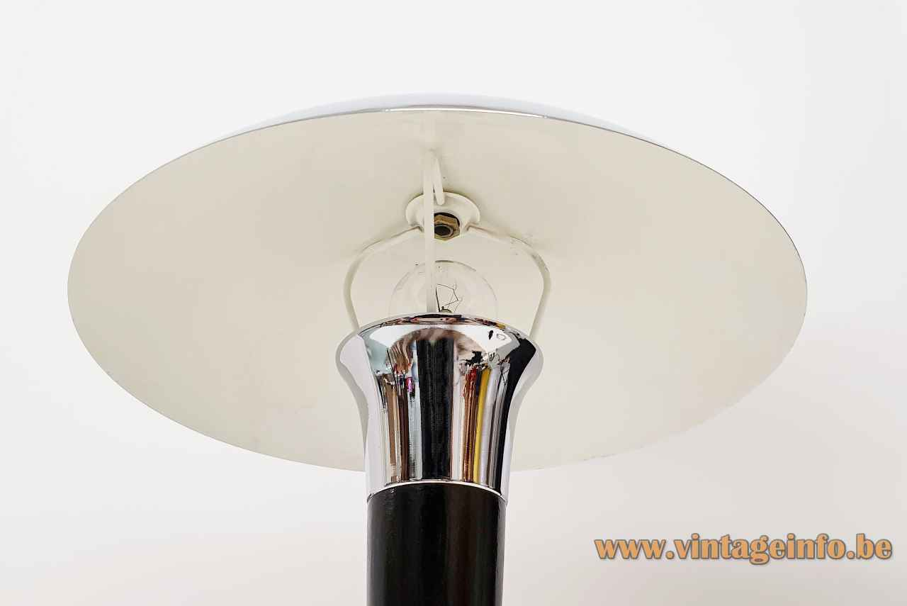 1980s Massive art deco table lamp curved round base conical black rod chrome mushroom lampshade 1990s Belgium