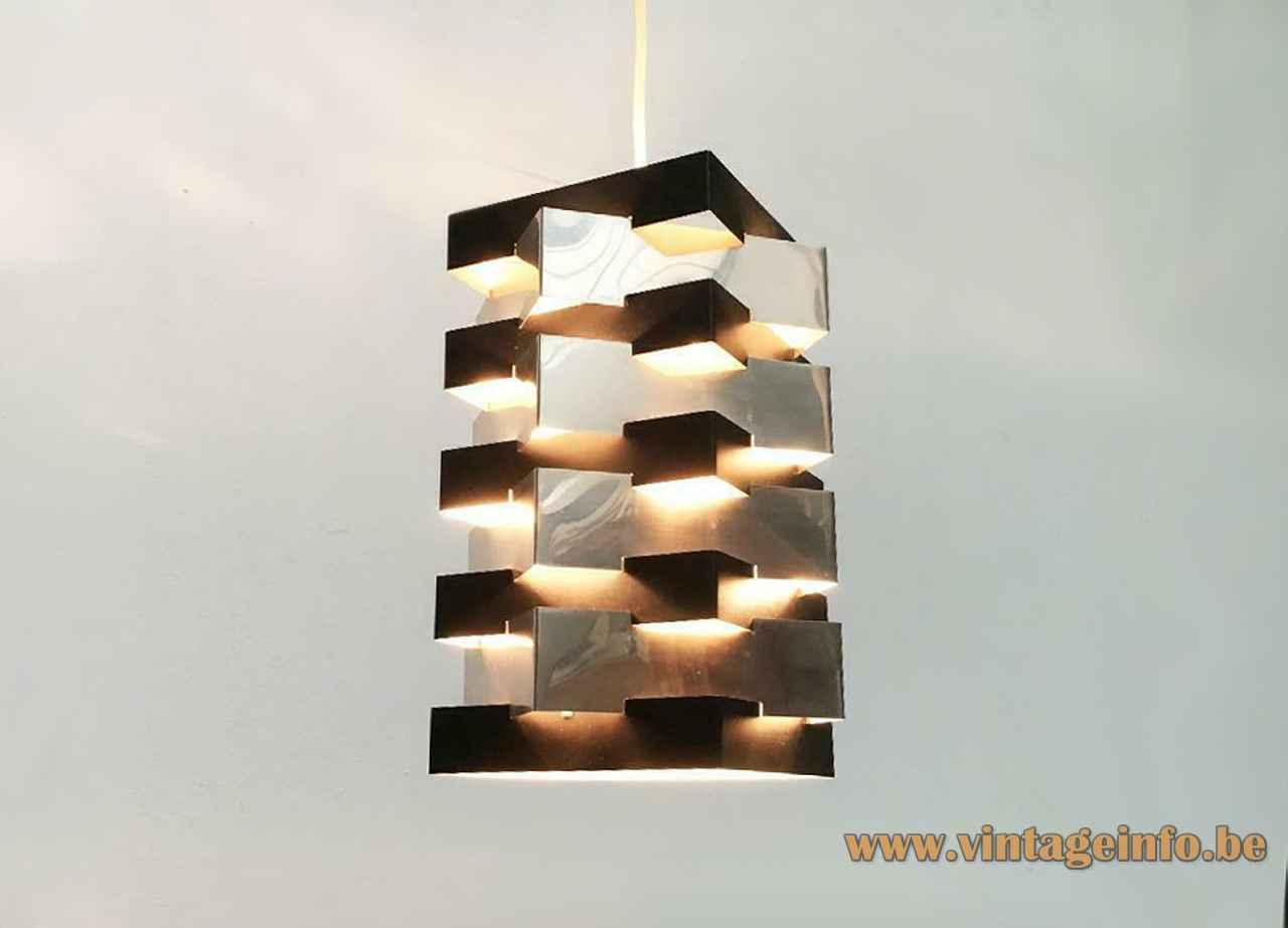 ANVIA Nordisk style pendant lamp square folded chrome & black slats lampshade 1960s 1970s The Netherlands Solar