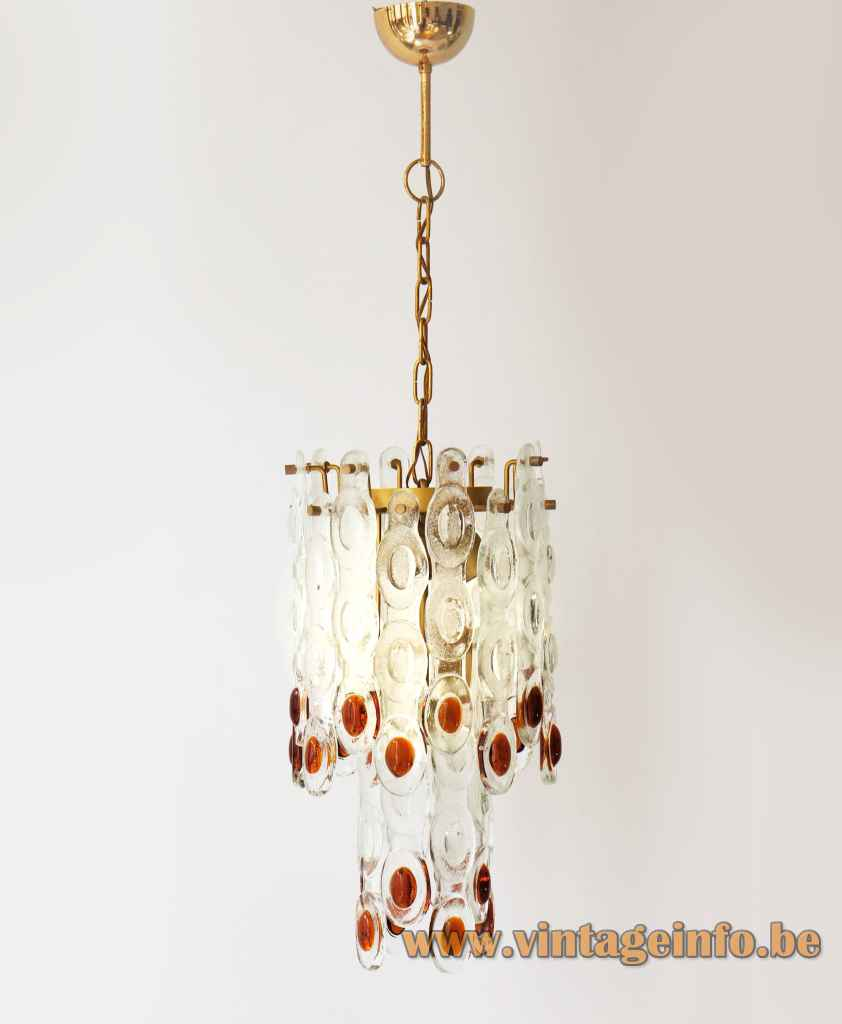 AV Mazzega fried eggs chandelier brass frame & chain elongated clear & brown Murano glass parts lampshade 1970s