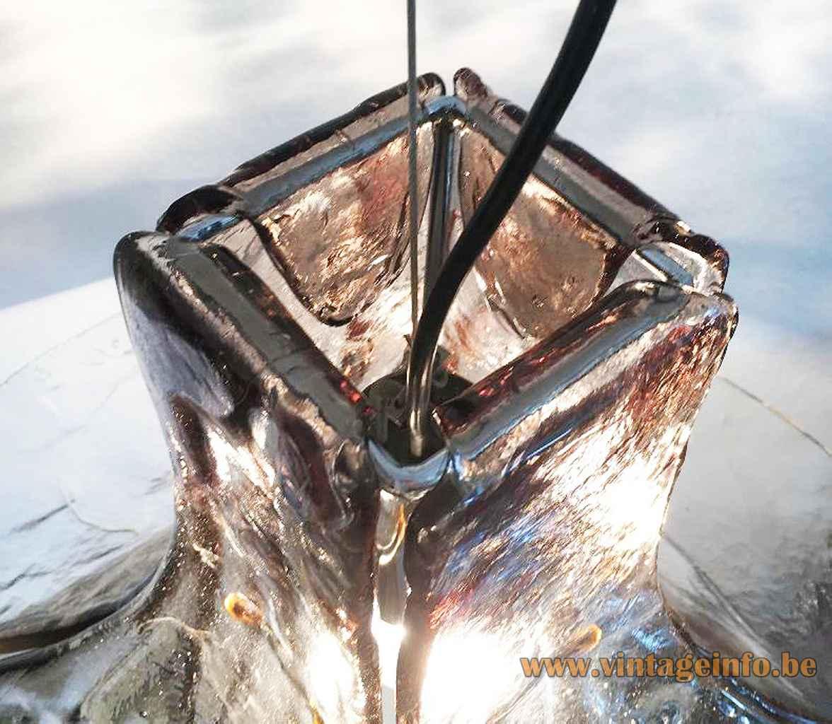 AV Mazzega LS 185 pendant lamp design: Carlo Nason top view lampshade steel wire Murano Italy