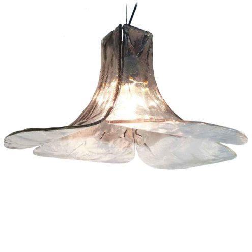 AV Mazzega LS 185 pendant lamp design: Carlo Nason 4 smoked glass leaves lampshade Murano Italy