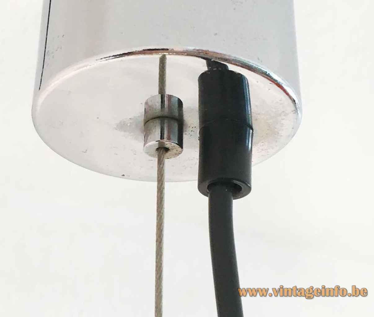 AV Mazzega LS 185 pendant lamp design: Carlo Nason round chrome canopy Murano Italy E27 socket