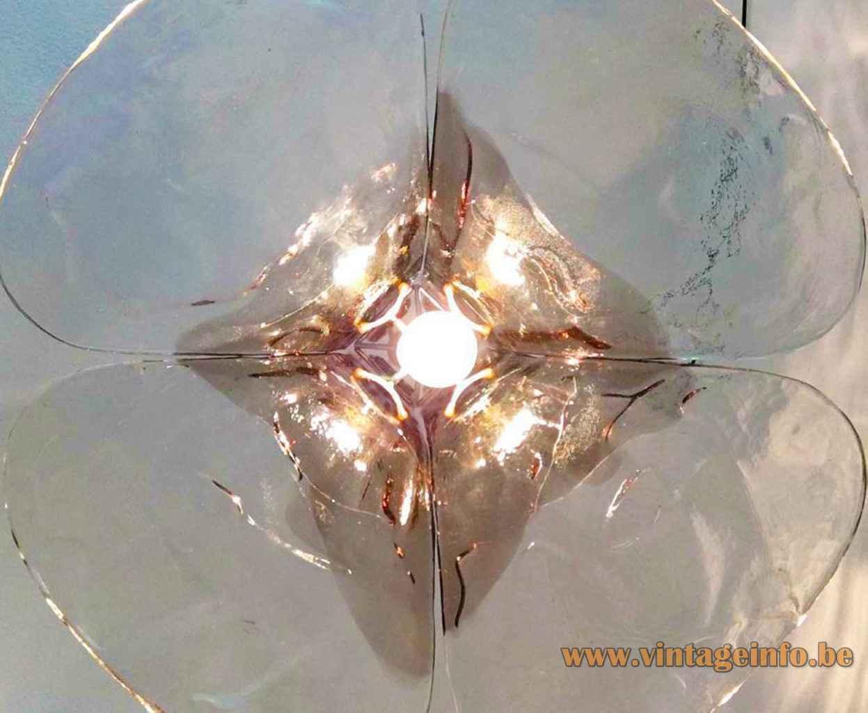 AV Mazzega LS 185 pendant lamp 4 smoked glass leaves lampshade inside view Murano Italy