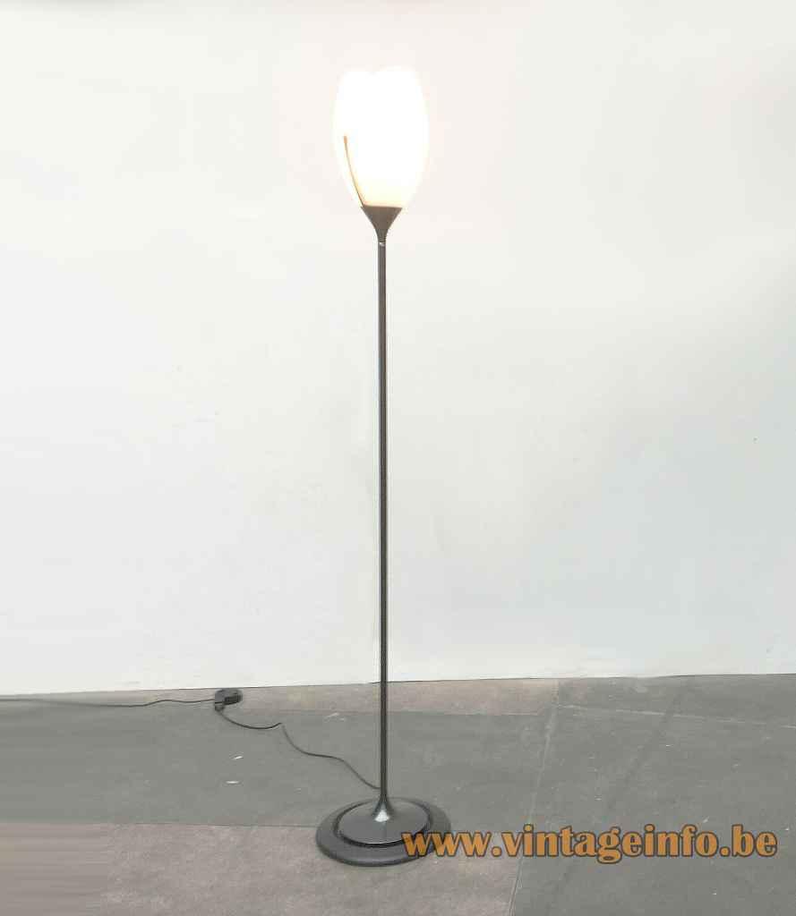 Arteluce Corolle floor lamp round black metal base & rod glass tulip lampshade 1991 design: Ezio Didone