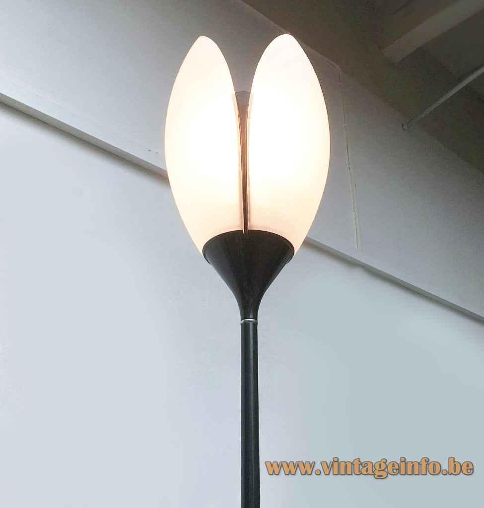 Arteluce Corolle floor lamp frosted glass tulip lampshade 1991 design: Ezio Didone FLOS Italy
