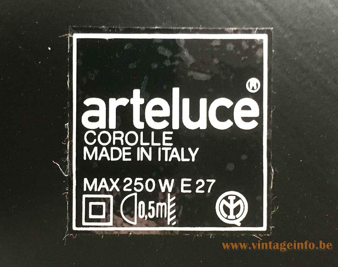 Arteluce Corolle floor lamp Square black label logo maximum 250 Watt design: Ezio Didone FLOS Italy