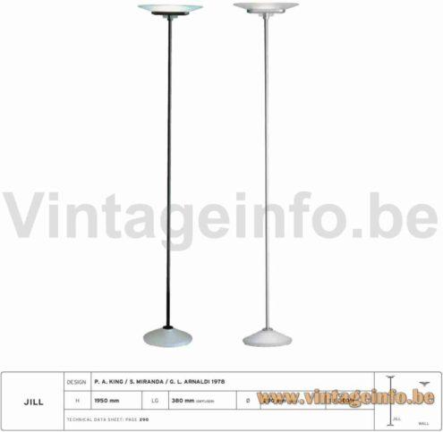 Arteluce Jill Floor Lamp - 1978 Design, Perry King, Santaingo Miranda, Gianluigi Arnaldi, Italy - 2008 Catalogue Picture