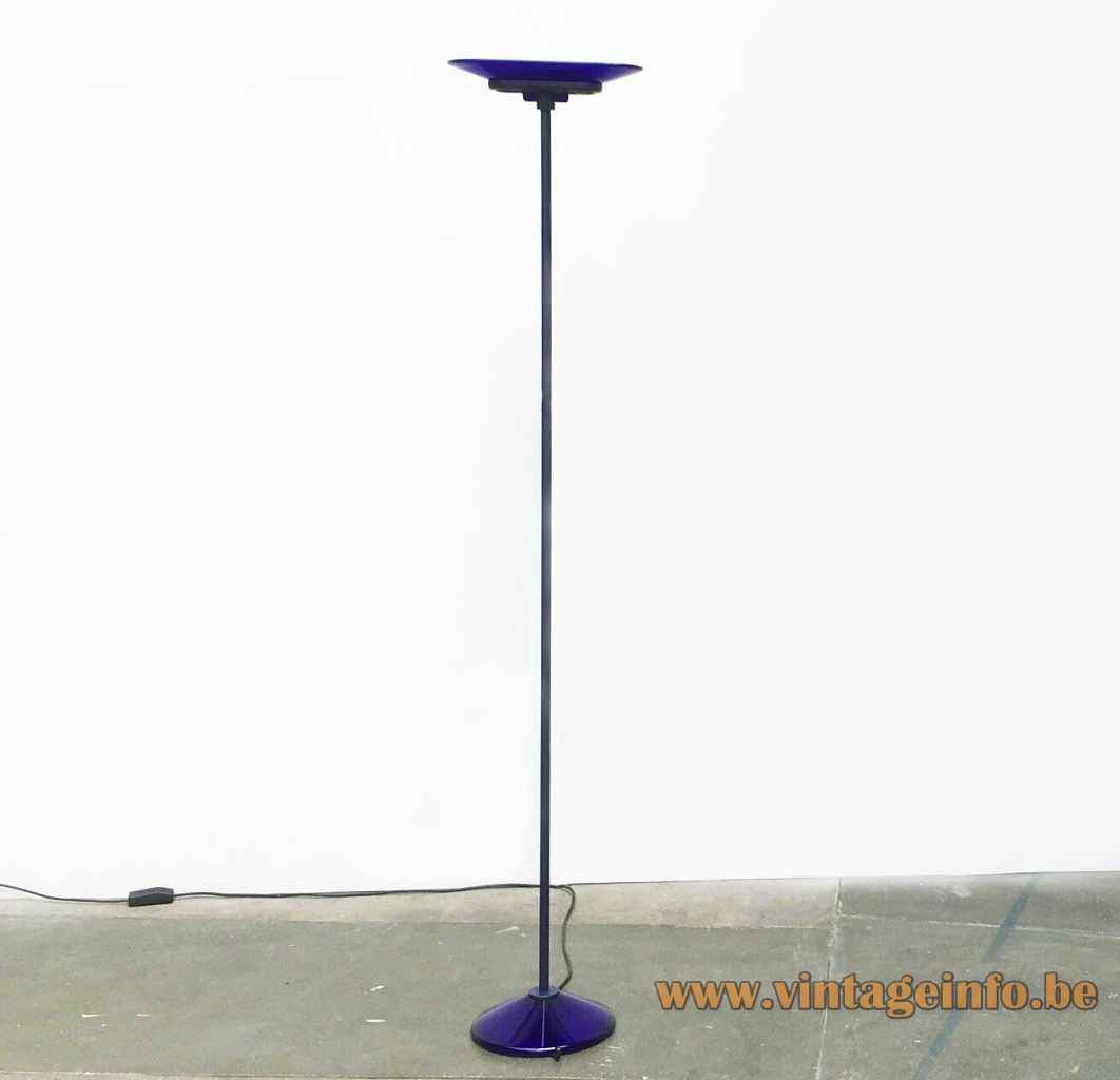 Arteluce Jill floor lamp round blue glass base long rod chalice lampshade 1970s 1980s FLOS Italy