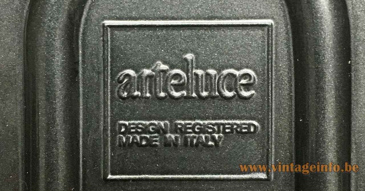 Arteluce Jill wall lamp black metal square logo label design: King Miranda & Arnaldi 1970s FLOS Italy