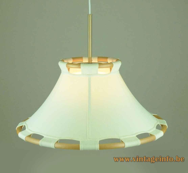 Ateljé Lyktan Anna pendant lamp 2 circular wooden hoops fabric lampshade design: Anna Ehrner 1970s Sweden
