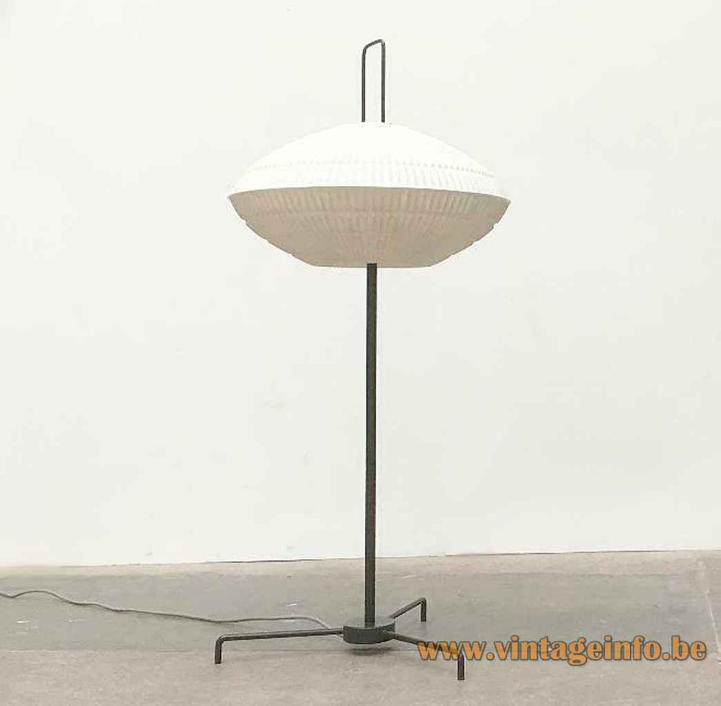 BEGA tripod globe floor lamp black metal base & rod white plastic sphere lampshade 1950s 1960s Germany