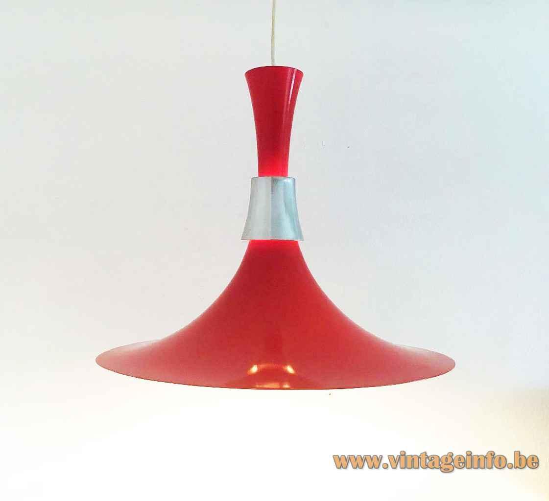 Bent Nordsted Lyskaer pendant lamp red aluminium diabolo trumpet lampshade chrome ring 1970s Denmark E27 socket