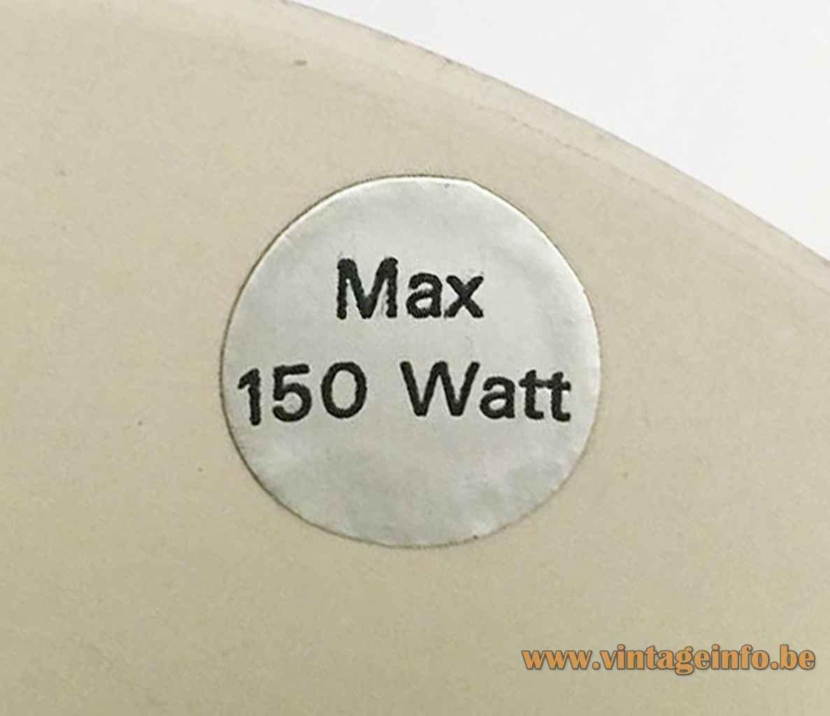 Bent Nordsted Lyskaer pendant lamp round paper label Max 150 Watt 1970s Denmark Lyskaer Belysning