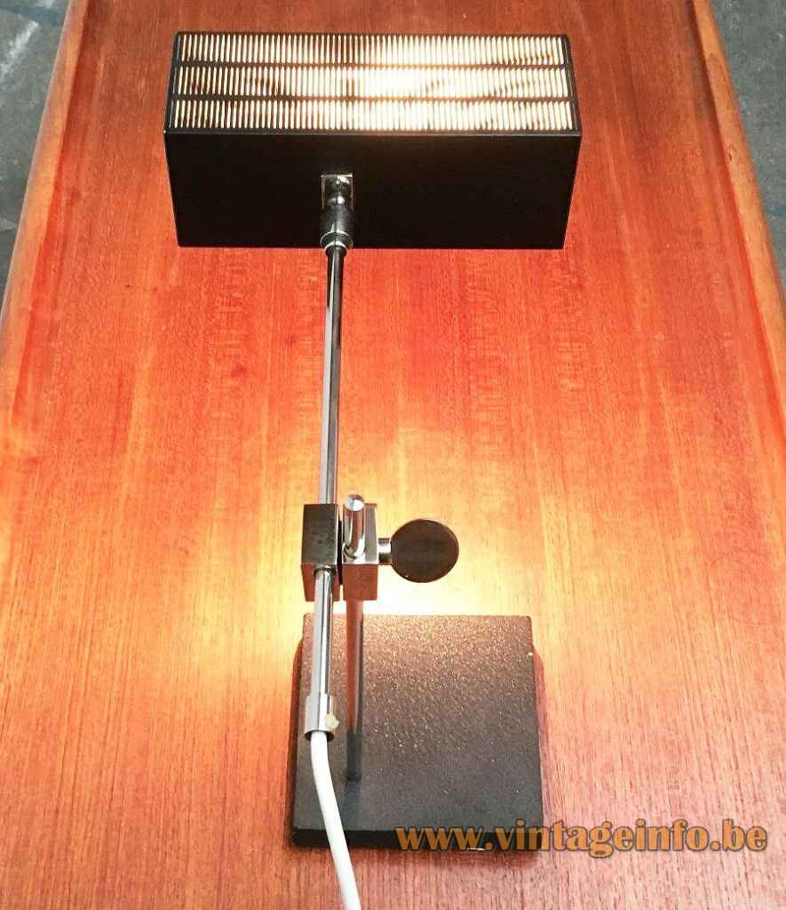 BuR Flamingo desk lamp square black base chrome rods rectangular perforated lampshade 1960s Bünte & Remmler Germany