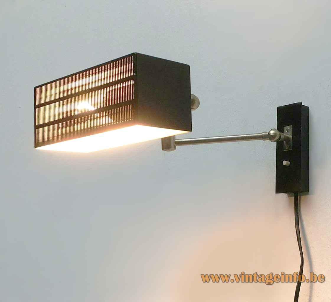 BuR Flamingo wall lamp adjustable chrome rods black rectangular perforated lampshade 1950s 1960s Bünte & Remmler Germany