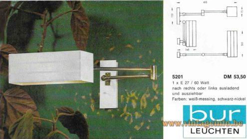 BuR Flamingo Wall Lamp - 1960s, Bünte und Remmler, Germany - 1964 Catalogue Picture