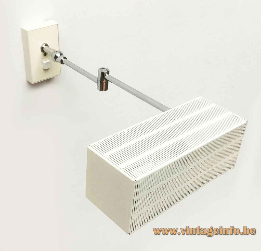 Bünte und Remmler Flamingo wall lamp adjustable chrome rods white rectangular perforated lampshade 1960s BuR Germany