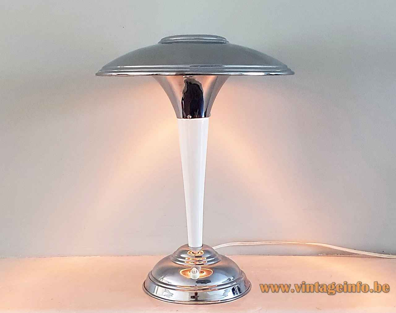 Chrome art deco table lamp round base conical white rod adjustable mushroom lampshade 1920s 1930s France