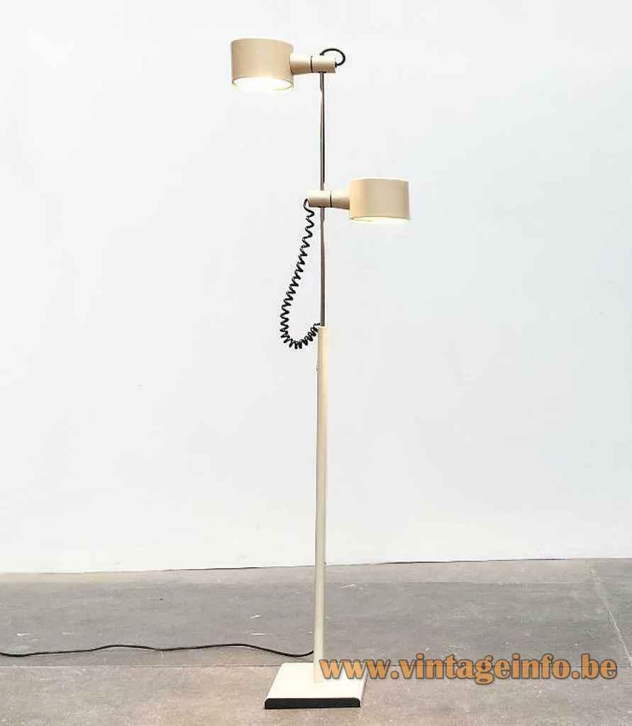 Conelight double floor lamp rectangular white base chrome rod adjustable round lampshades 1970s United Kingdom