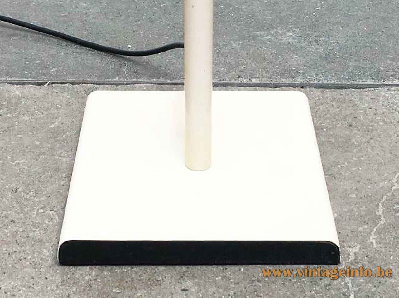 Conelight double floor lamp rectangular white base black bottom white rod 1970s United Kingdom Ronald Holmes