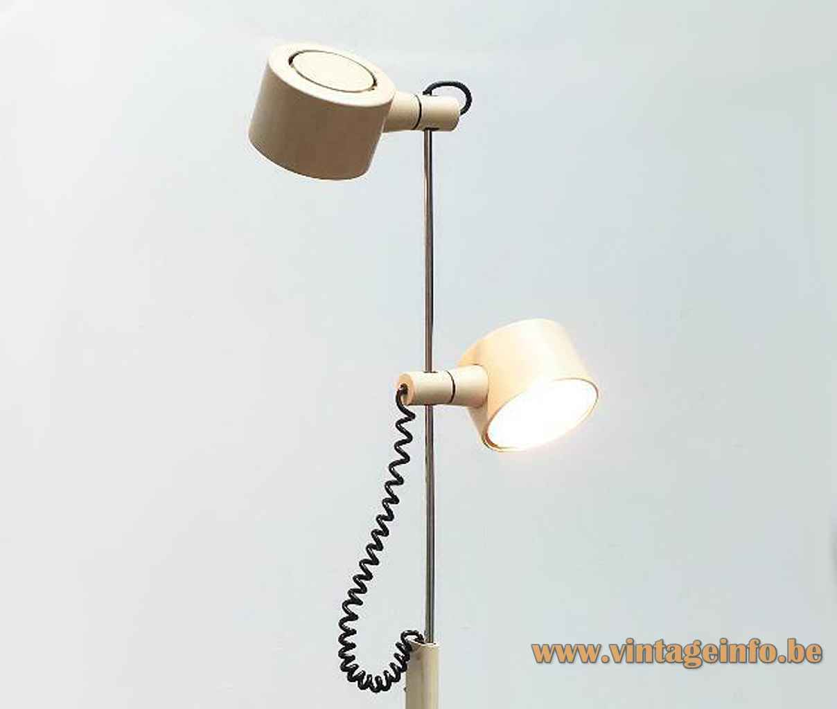 Conelight double floor lamp adjustable chrome rod pivoting round lampshades spiral cord 1970s United Kingdom