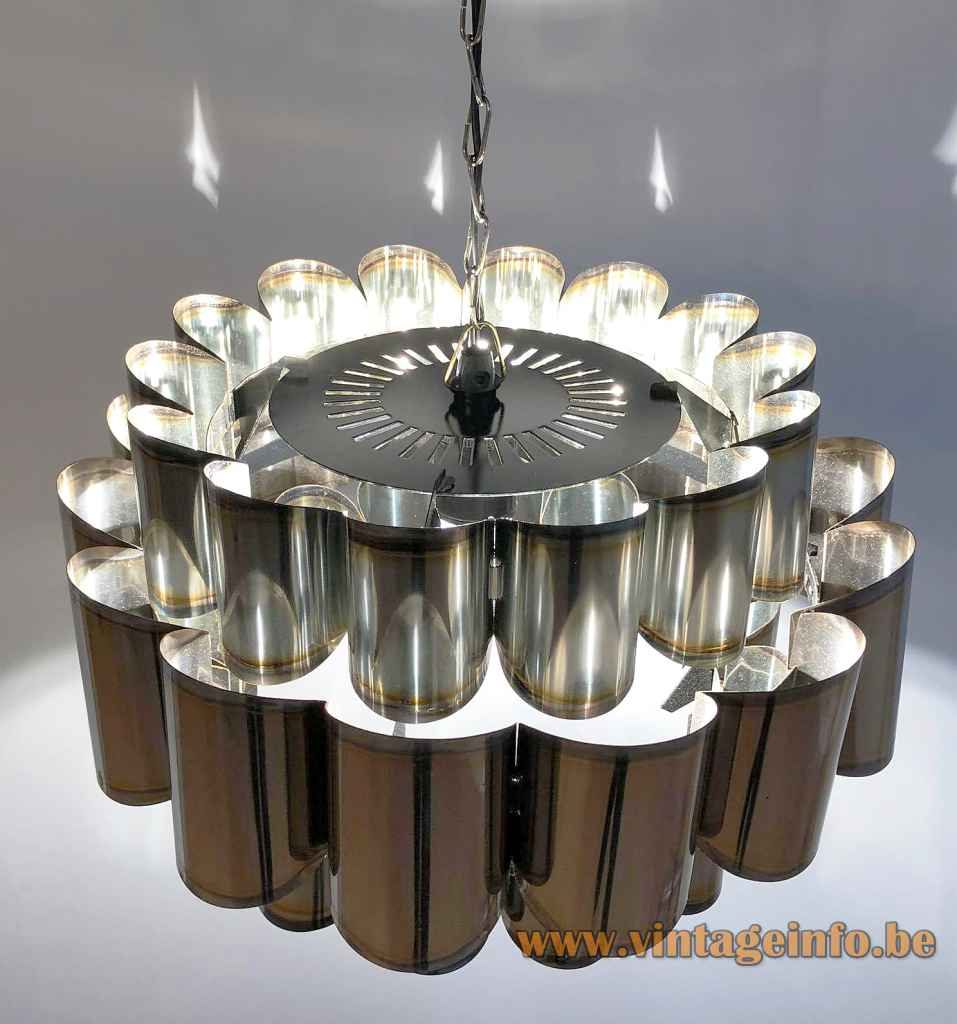 Coronell Elektro stainless steel pendant lamp curved metal slats lampshade chain 1960s 1970s Germany E27 socket