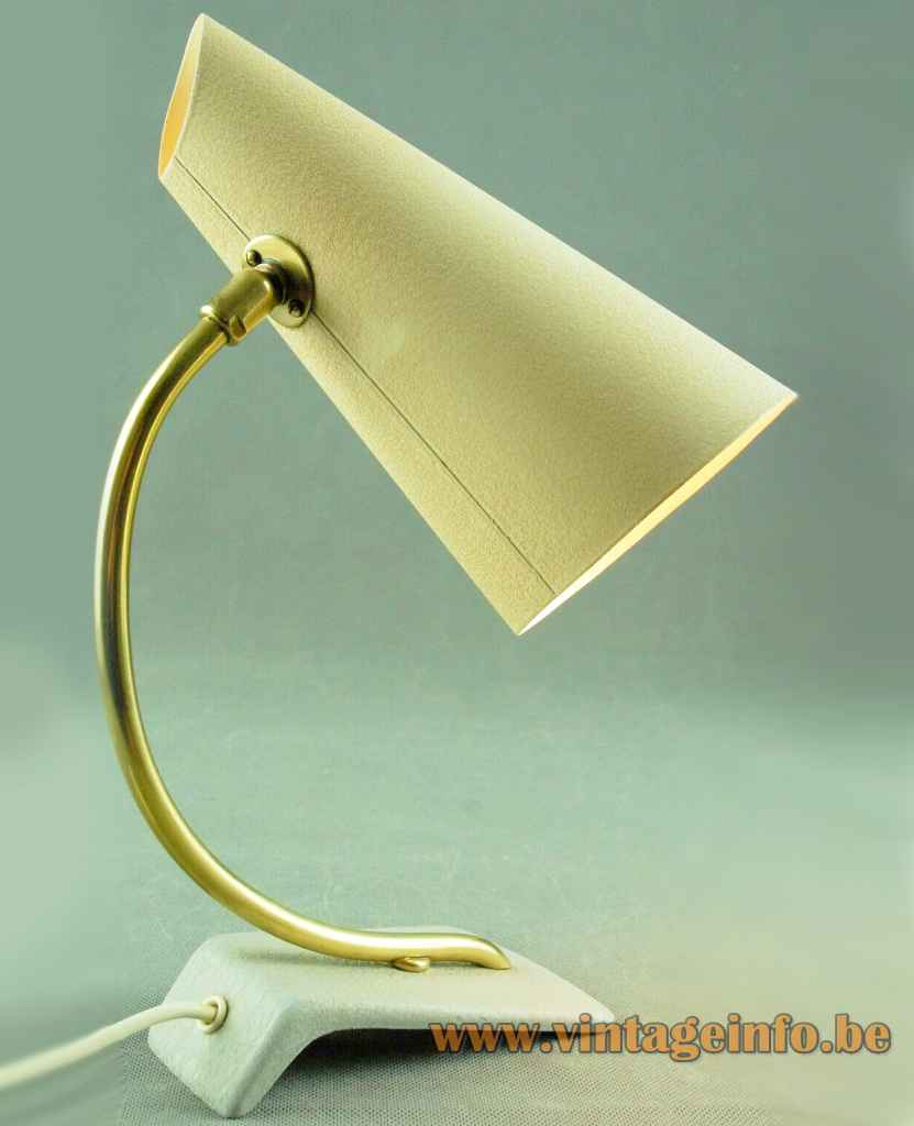 Cosack cone desk lamp white cast iron base curved brass rod yellow lampshade 1950s 1960s Germany