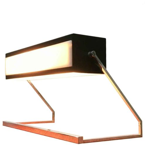 Cosack desk lamp 7852 square chrome rods base black rectangular beam lampshade acrylic diffusers 1960s Germany