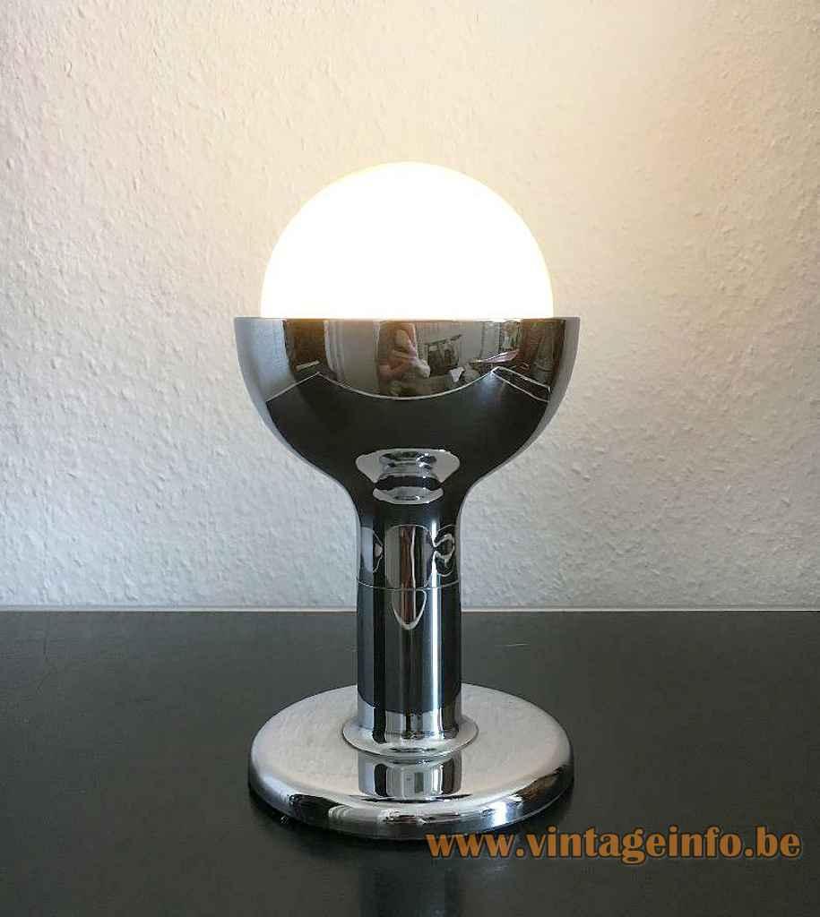 Cosack globe table lamp chrome round base rod & chalice opal glass lampshade 1970s Germany E27 socket