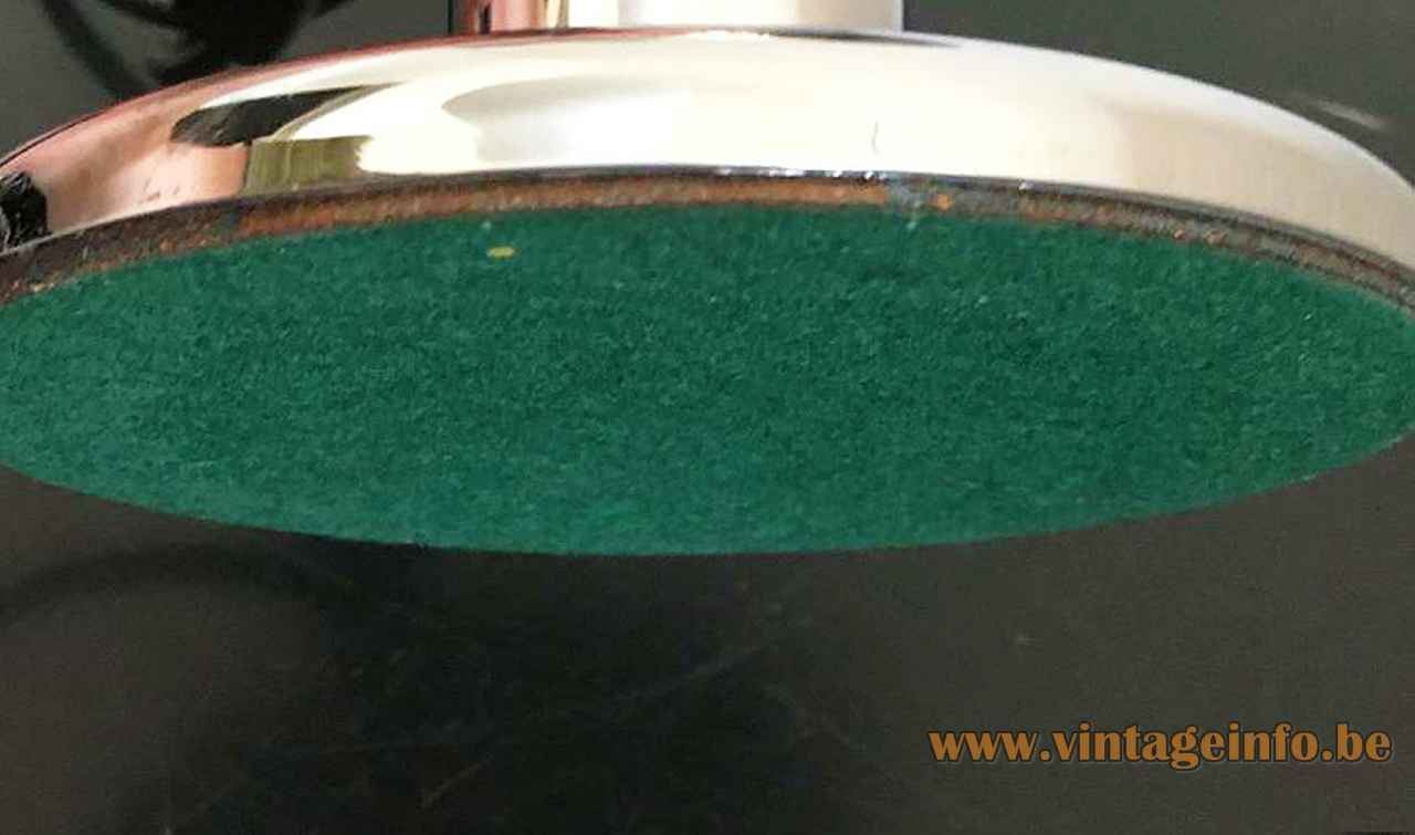 Cosack globe table lamp chrome round base green felt bottom 1970s Germany