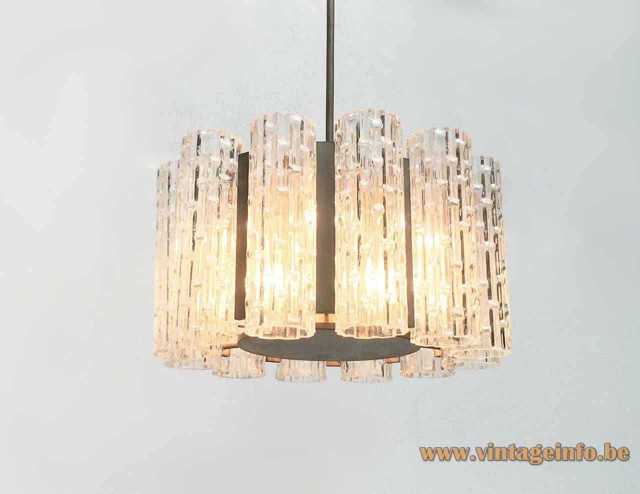 DORIA big glass tubes chandelier embossed ring lampshade metal disc & rod 1960s 1970s Germany E14 sockets