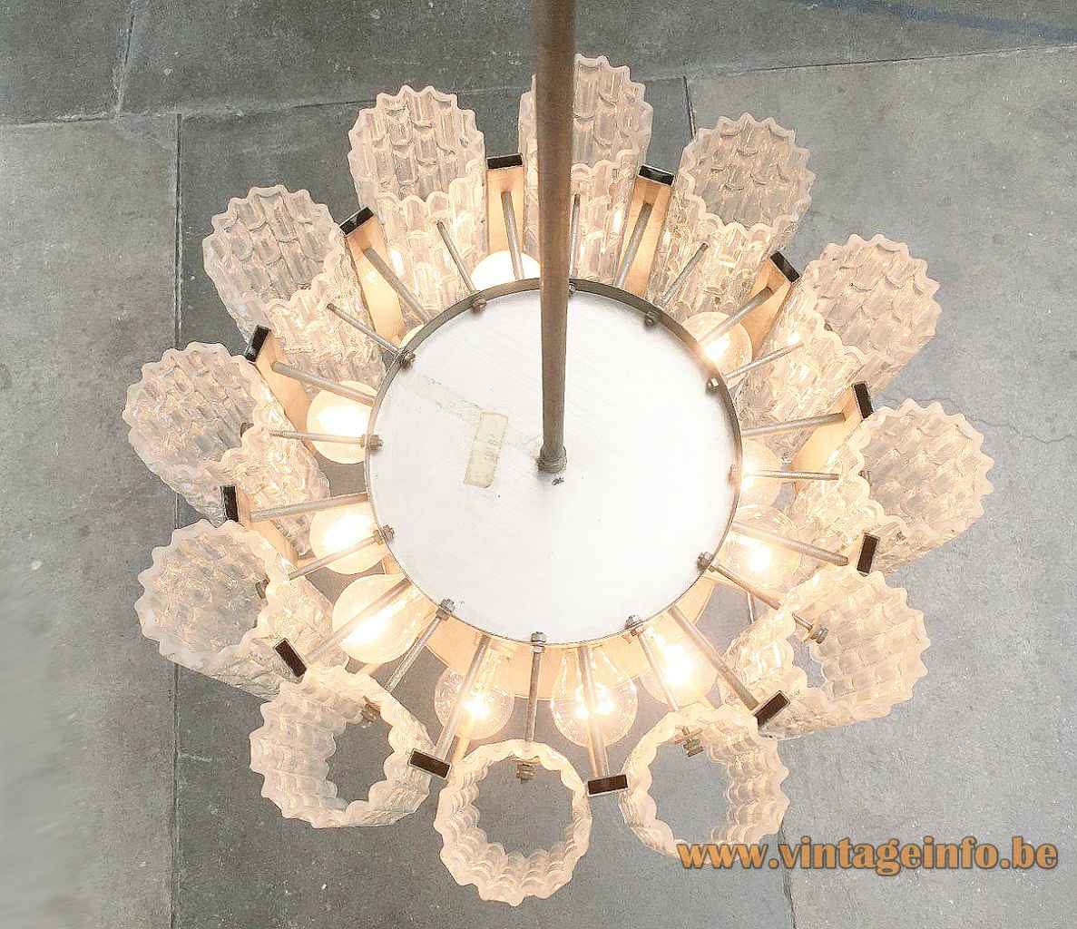 DORIA big glass tubes chandelier embossed ring lampshade metal disc & rod 1960s 1970s Germany top view