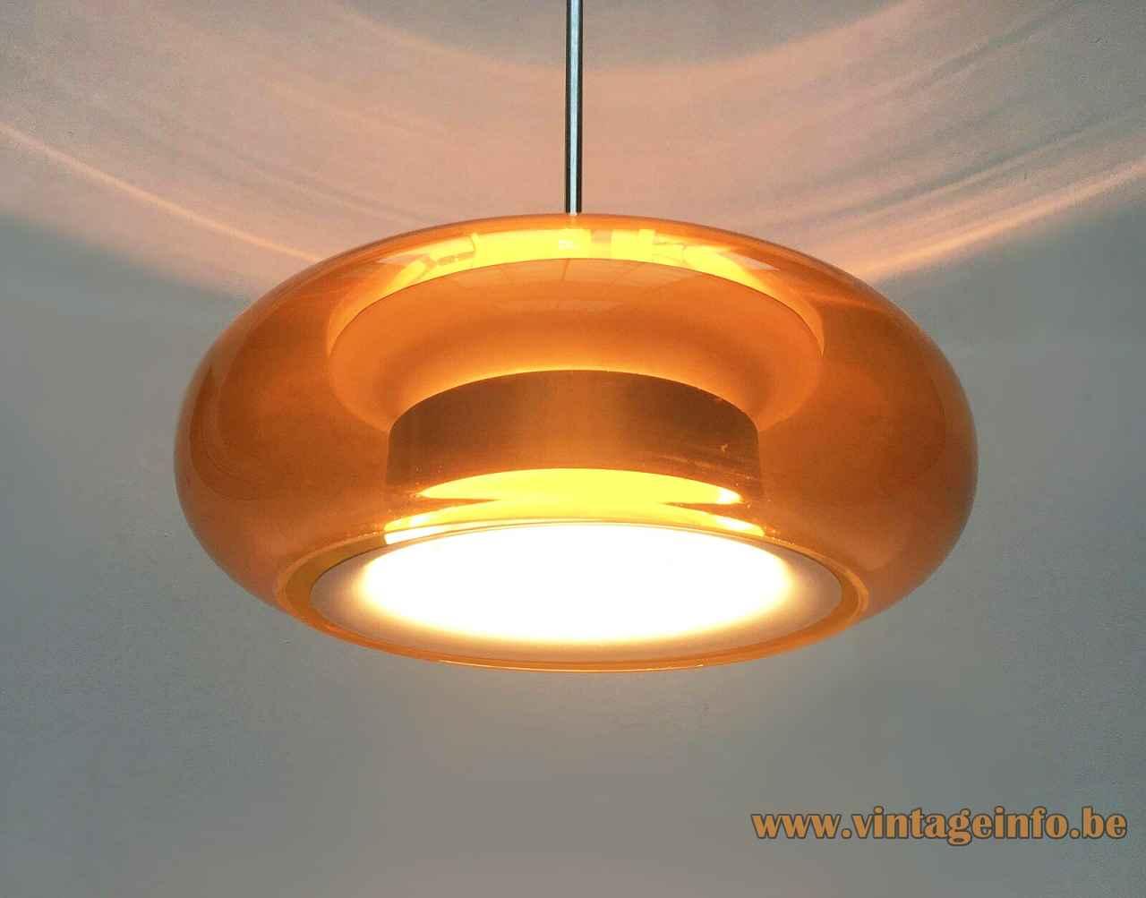 DORIA doughnut pendant lamp round clear orange glass lampshade aluminium diffuser 1960s 1970s Germany E27 socket