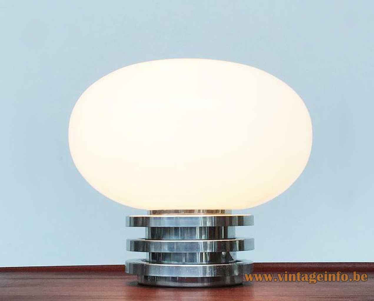 DORIA oval globe table lamp chrome rings base white opal glass lampshade 1960s 1970s Germany