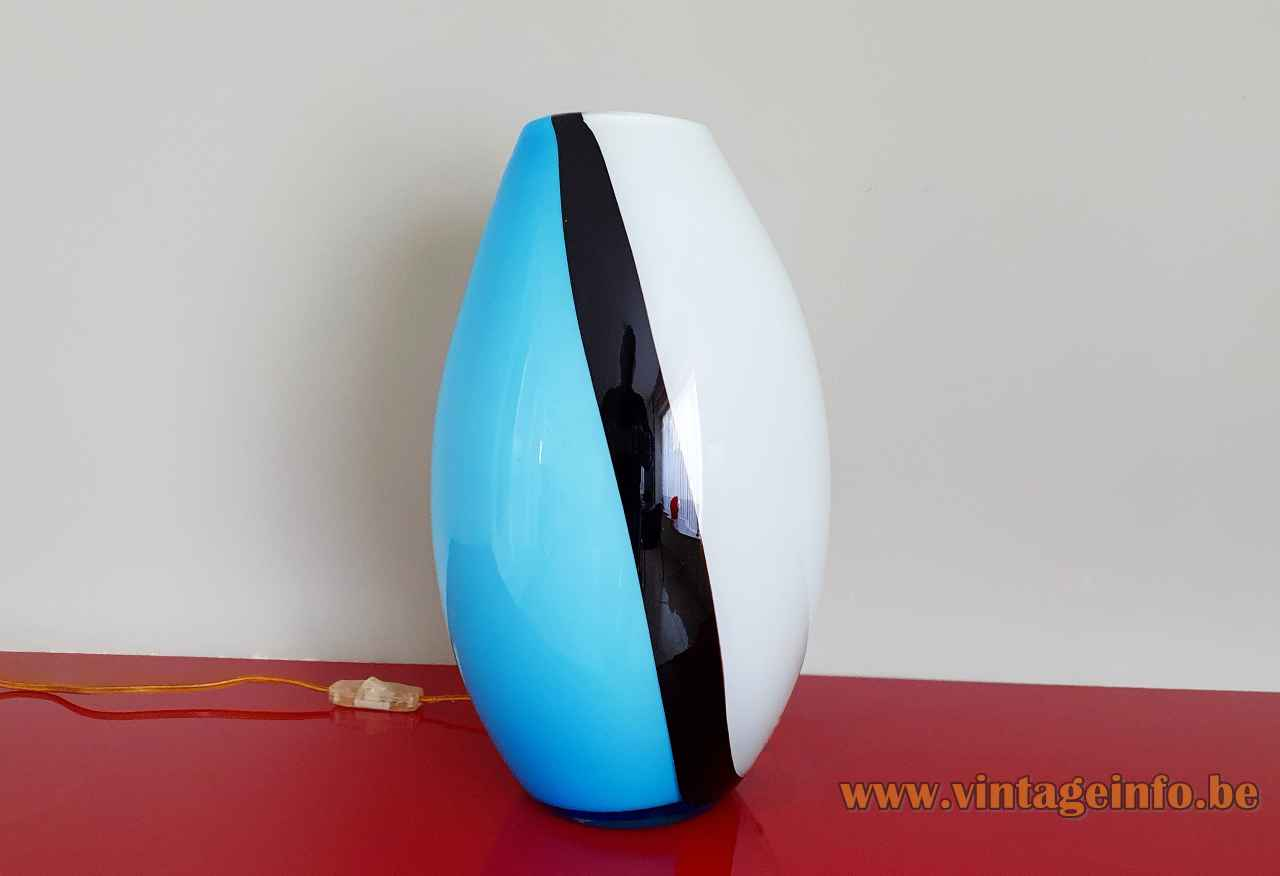 EGLO Empori table lamp blue black & white hand blown glass lampshade 2000s Austria E27 socket