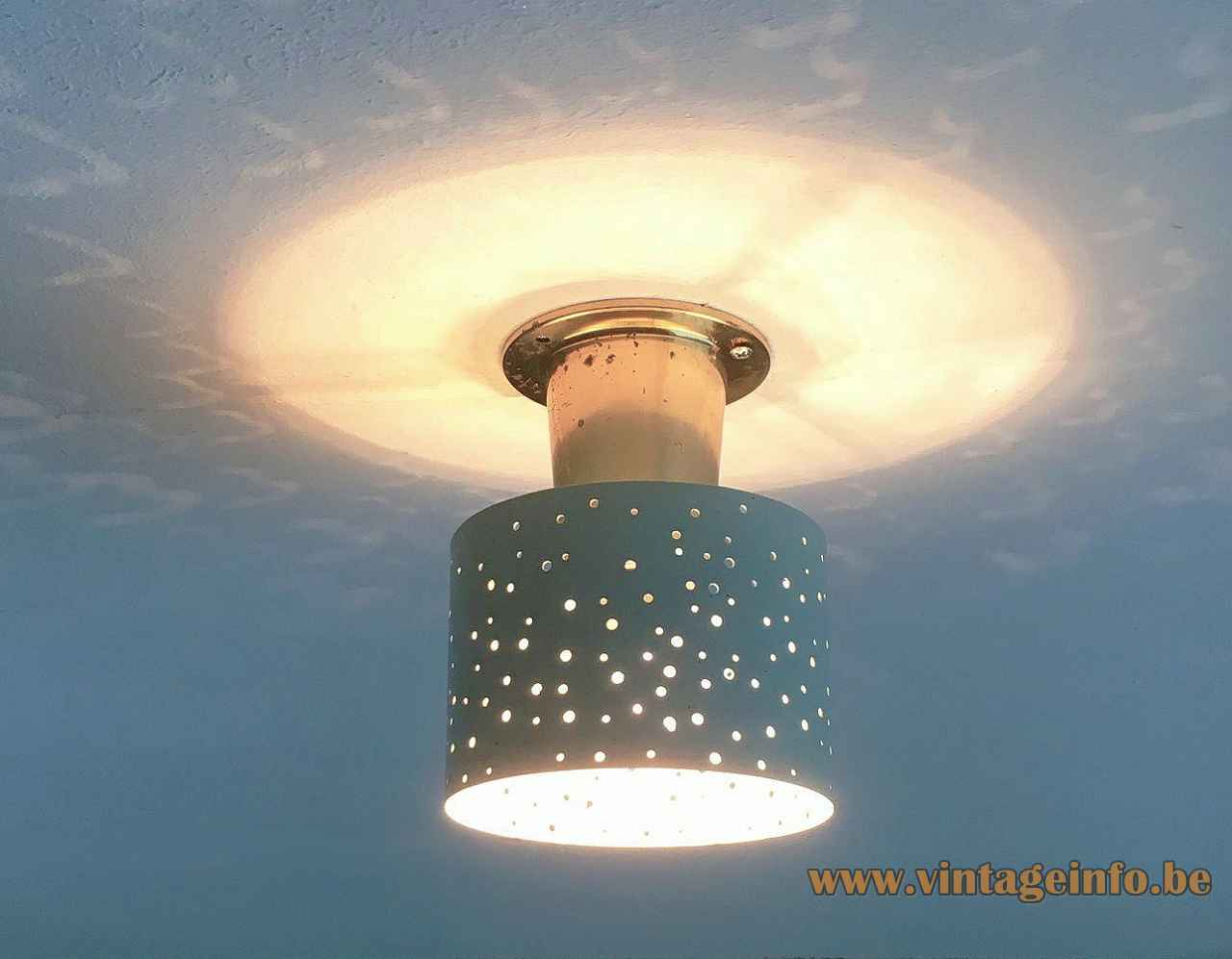 Ernest Igl Hillebrand flush mount brass base blue lampshade perforated round holes 1950s Germany E14 socket Hillebrand-Leuchten