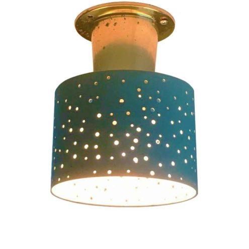 Ernest Igl Hillebrand flush mount brass base blue lampshade perforated round holes 1950s Germany E14 socket Hillebrand-Leuchten