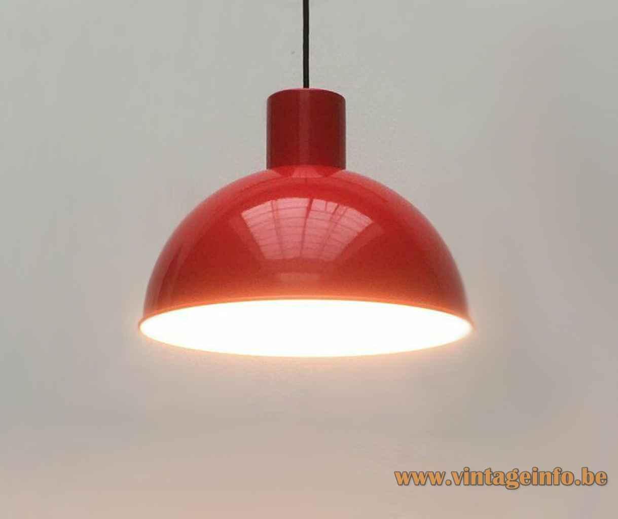 Fog & Mørup Bunker pendant lamp red aluminium mushroom lampshade 1970s design: Jo Hammerborg Denmark E27 socket