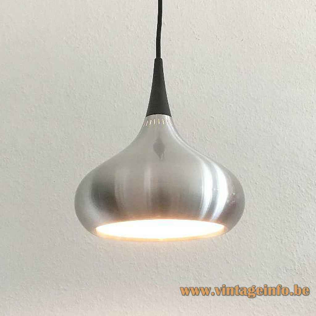 Fog & Mørup Orient pendant lamp round conical aluminium lampshade elongated slots Jo Hammerborg design 1960s 1970s