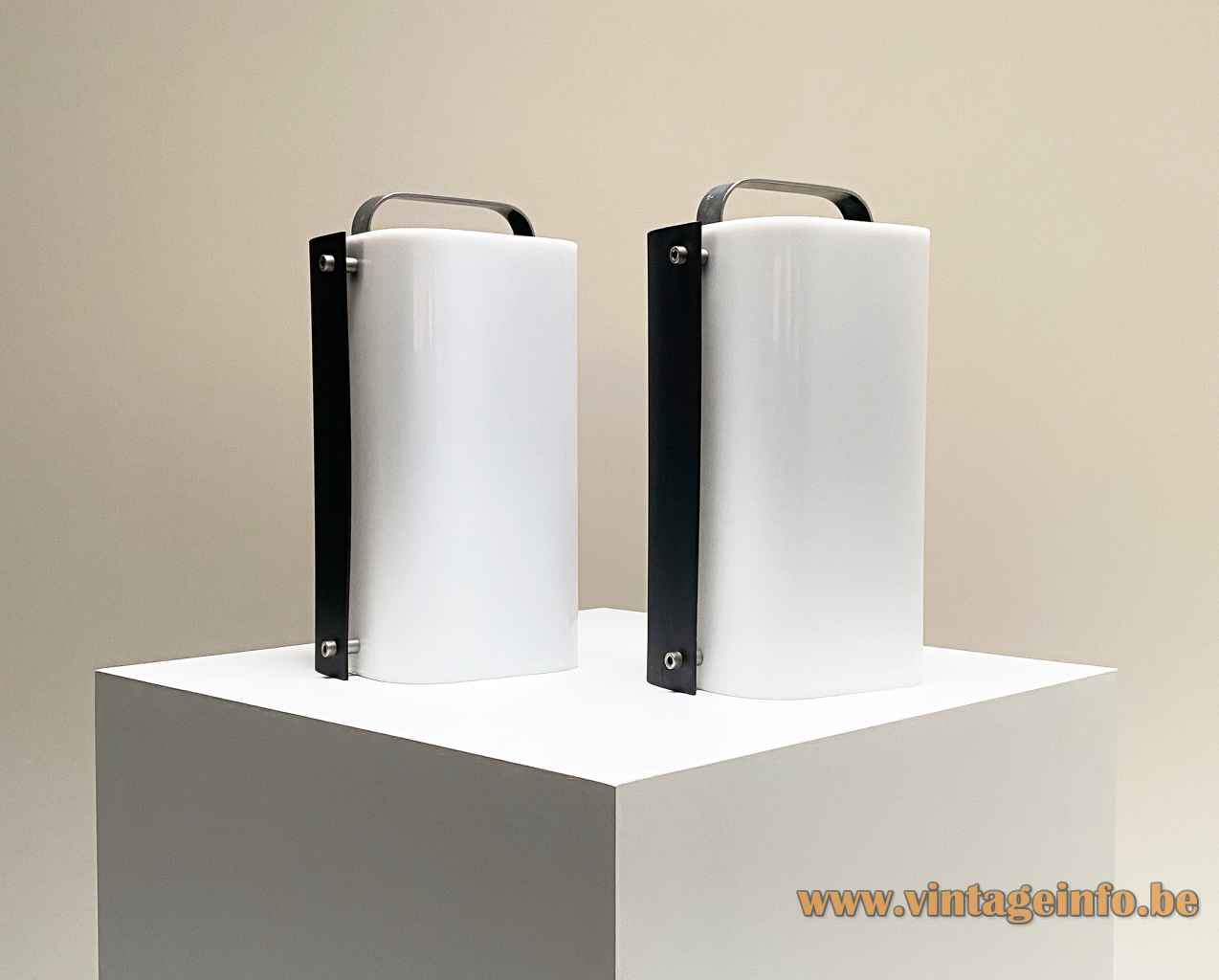 Gio Ponti Polsino table lamp black metal & white acrylic lampshade 1960s 1970s Design House Harvey Guzzini