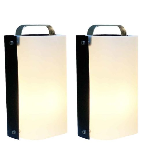 Gio Ponti Polsino table lamp black metal & white acrylic lampshade 1960s 1970s Design House Harvey Guzzini