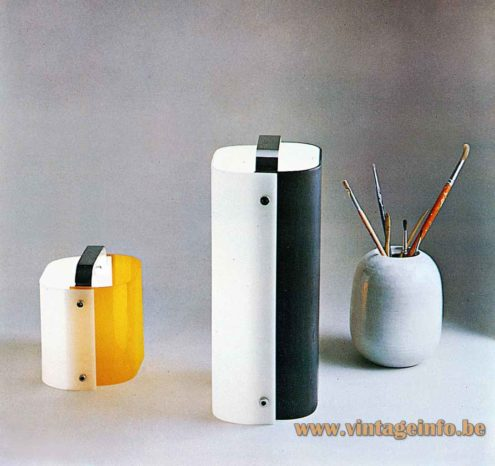 Gio Ponti Polsino table lamp catalogue picture big & small version orange & white Design House Harvey Guzzini