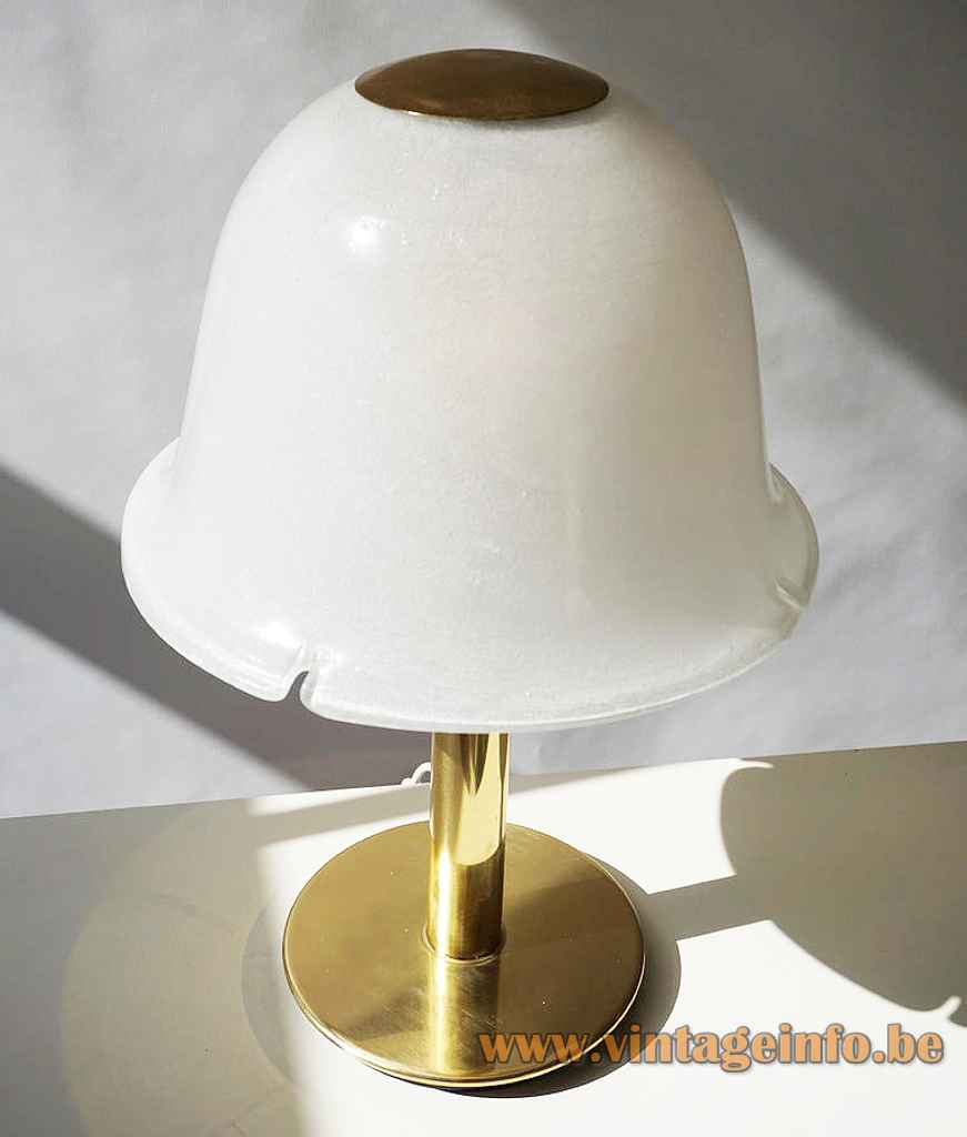 Glashütte Limburg flower table lamp round brass base & rod white opal glass mushroom lampshade 1970s Germany