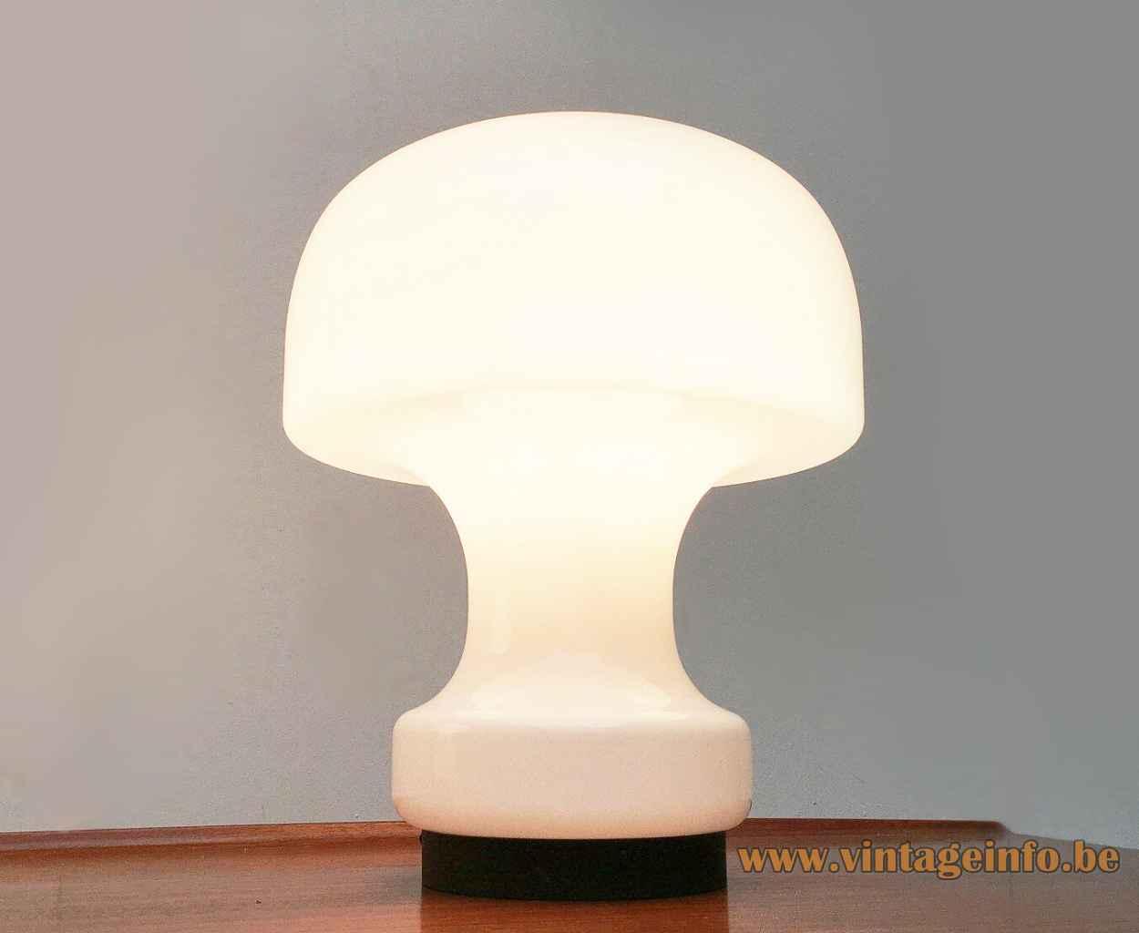 Glashütte Limburg mushroom table lamp round black plastic base white opal glass lampshade 1970s Germany